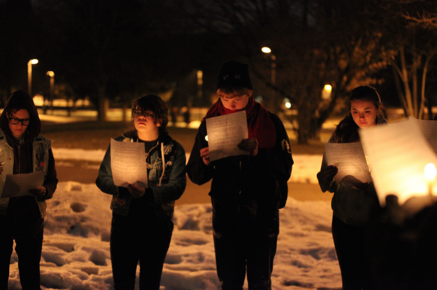 On+Jan.+22%2C+members+of+the+Gay+Straight+Alliance+gathered+on+Augustana+grounds+for+a+candlelight+vigil+at+5%3A30+p.m.+Students+held+candles%2C+passed+a+flame+and+honored+those+members+of+the+LGBT+community+who+have+been+killed+due+to+discrimination+and+hate+towards+the+community.%0APhoto+by+Linnea+Ritchie.