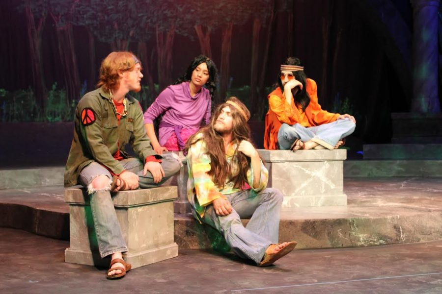 Madison+Rodgers%2FObserver+Staff%0AStudents+in+the+Theatre+Department+rehearse+the+spring+play%2C+dressed+as+hippies+in+the+Vietnam+Era.+This+year%2C+Augustana+Theatre%E2%80%99s+spring+production%2C+directed+by+Jennifer+Popple%2C+is+a+twist+on+a+classic+Shakespeare+play.+%E2%80%9CAs+You+Like+It%E2%80%9D+combines+Vietnam+with+Shakespeare%E2%80%99s+wit%2C+to+tackle+modern+issues+of+identity%2C+gender+and+love.