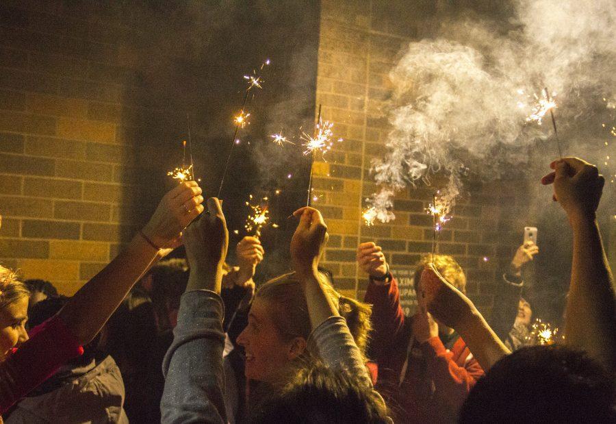 Augustana+students+enjoy+Diwali+with+sparklers.+Photo+by+JanieLe.
