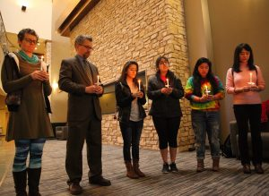 Members of the Augustana community gather together in solidarity during the Vigil of Prayer. Photo by LuAnna Gerdemann.