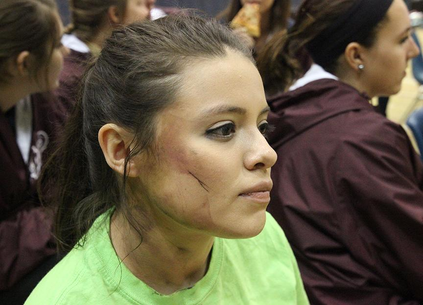 Sophomore+Gloria+Navaraz+was+one+of+the+students+who+pretended+to+be+wounded+during+the+active+shooter+drill+at+Augustana+College+on+April+26.