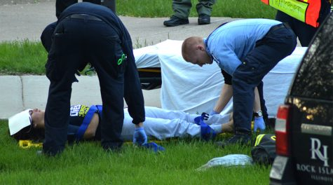 An injured participant is given medical aid during the active shooter drill on April 26.