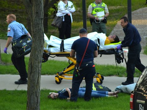 Critically-injured participants were carried to ambulances and transported to hospitals during the active shooter drill on April 26.