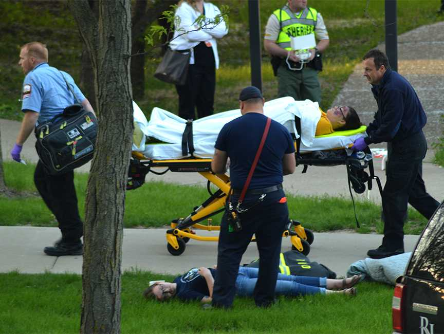 Critically-injured+participants+were+carried+to+ambulances+and+transported+to+hospitals+during+the+active+shooter+drill+on+April+26.