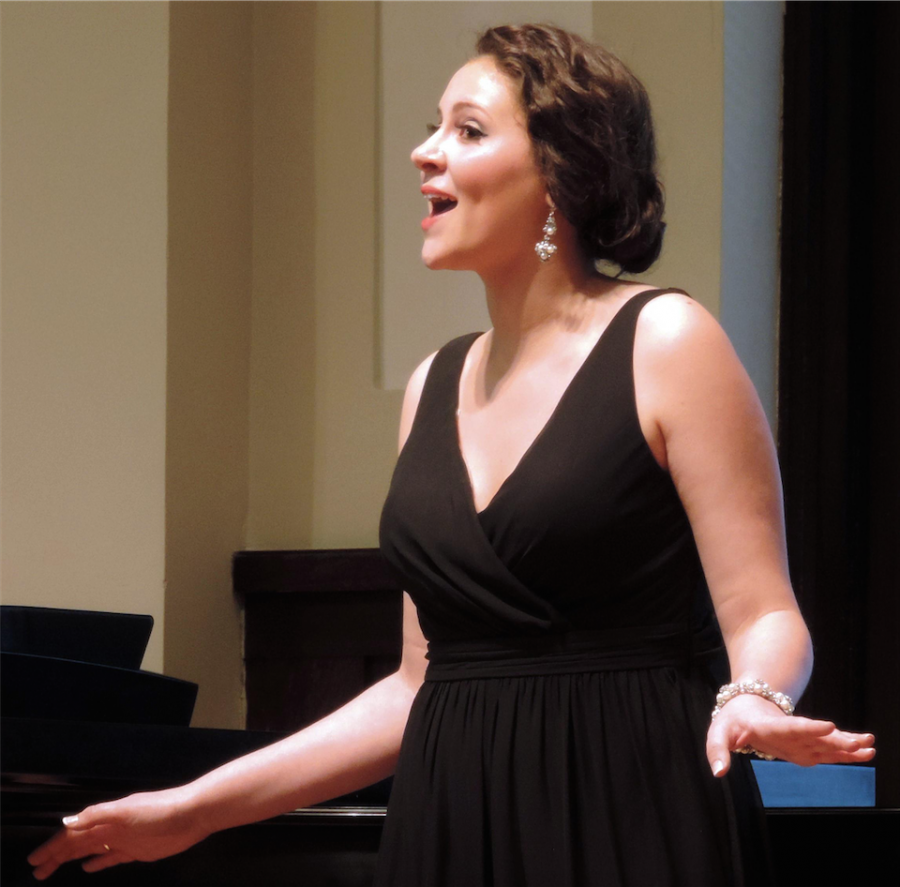 Senior+Maria+Catalano+sings+a+song+during+her+senior+recital+in+Wallenburg+Hall.+Photo+by+Christine+Beach.