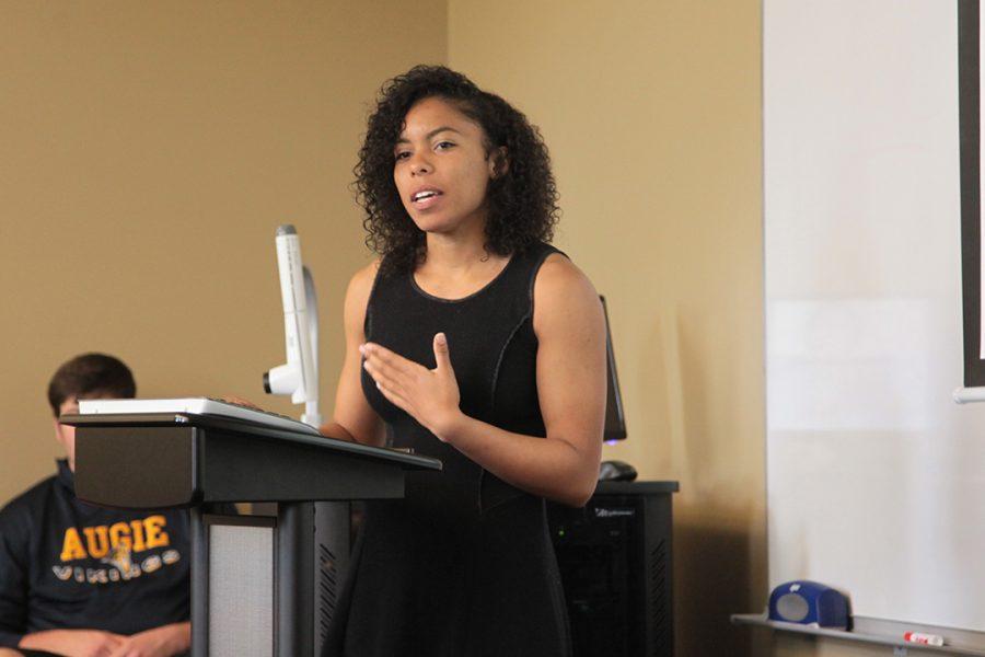 Senior Kayla Bushey presents her Senior Inquiry on Black Privilege. Photo by LuAnna Gerdemann.