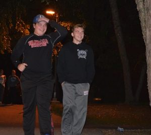 """Sophomores Jake Stewart and Drake Stern participated in the """"Clown Hunt"""" on Tuesday Oct. 4. They were just two of upwards of 30 students who were out an about along the Slough Path just after midnight. (Photo by: Alex Halterman)"""