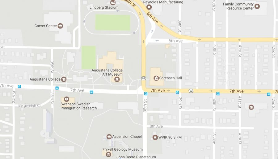 Two+Augustana+students+were+transported+to+a+hospital+after+being+struck+by+a+car+on+7th+Avenue+and+38th+Street+on+Thursday+night.+