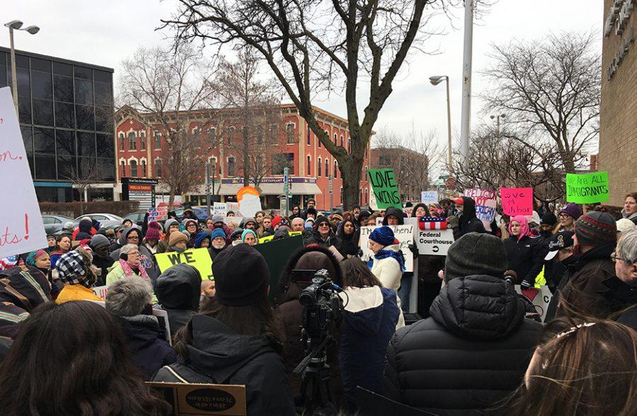Over+200+people+came+out+to+protest+President+Donald+Trumps+Travel+ban+on+Saturday+in+front+of+the+Federal+Courthouse+in+Rock+Island.