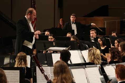 Dr. James Lambrecht conducts the Symphonic Band before Saturdays concert. The ASB just returned from their tour in Spain. Photo by Kevin Donovan