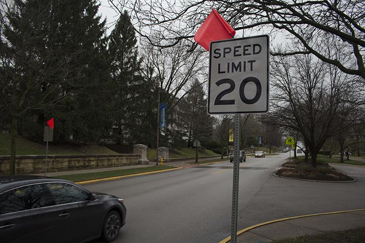 Lower+speed+limit+and+new+speed+limit+signs+are+marked+by+orange+signs+along+7th+Avenue+near+campus+after+two+students+were+hit+in+January.+Photo+by+Kevin+Donovan