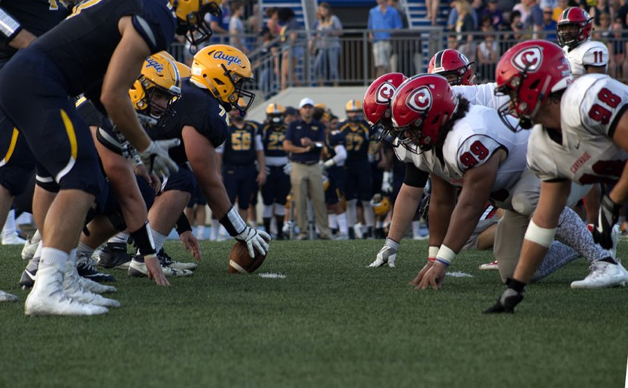 Augustana+Vikings+line+up+against+Carthage+College+on+Saturday.+Photo+by+Kevin+Donovan