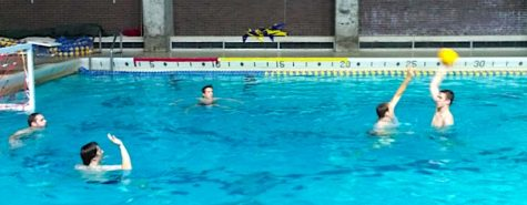 Augustana Vikings Water Polo team works hard during one of their practice. Photo by Morgan Clark
