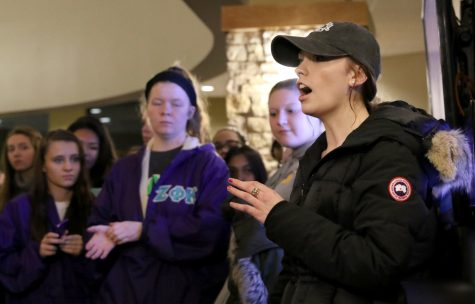 Senior Margaret Gros thanks the students who stood outside the Greek Council meeting as a sign of support. Photo by Tony Dzik.