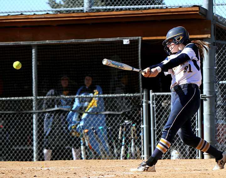 First-year Molly Wrenn steps up to bat for the Vikings. Wrenn got two runs for Augustana in their game against Elmhurst. Photo by Tony Dzik.