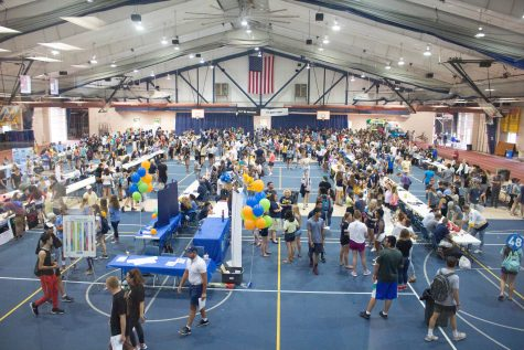 Students walk from table to table signing up for clubs and activities on campus during the Activities Fair in Pepsico on Friday, August 17. Photo by Kevin Donovan
