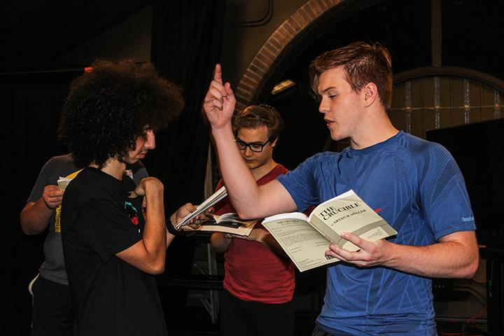 Junior+Jonathan+Quigley%2C+Junior+Jonathan+Meir%2C+and+Sophomore+James+Wheeler+rehearse+their+lines+for+the+Crucible.