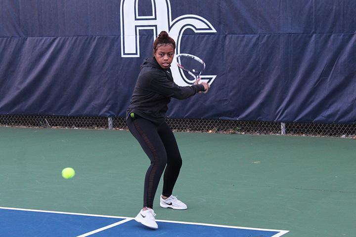 Caitlyn Schaffer, senior, during Tennis practice on Oct. 4. Photo by Sarah Major.