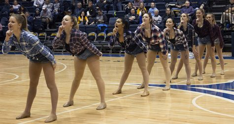 Augustana Vikettes perform their country dance during halftime of the mens basketball game against Caroll on Saturday December 1, 2018. Vikings won 68-56.
