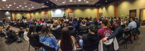 Students turned up in a large crowd to support the Gray Matters movement on Tuesday, Feb. 5, 2019 in the Gavle rooms. The room was filled to capacity, with many sitting outside the doorway to hear speakers. Photo courtesy of Ian Murrin.