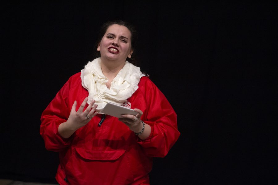 """Junior Cheyenne Powell performs the monologue """"My Angry Vagina"""" on Thursday, Feb. 7, 2019 in Brunner Theater."""