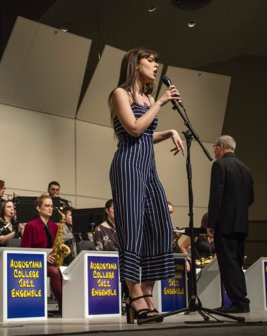 Junior Stephie Benito sings as the Jazz Ensemble's featured vocalist on Friday, Feb. 1, 2019 in Centennial Hall.