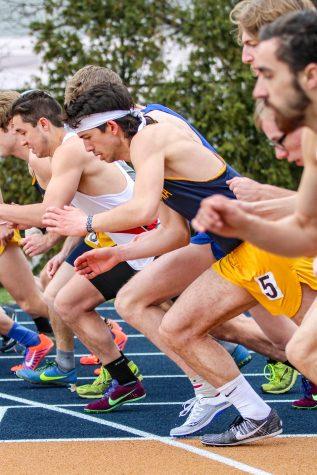 Augustana Senior Joshua Thorson starts at the line of the Men's 1500 meter race at the Augustana Viking Olympics home meet.