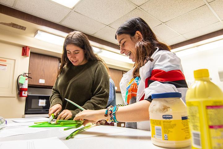 Augustana Junior Rachel Hecke (left) and Freshman Emmy Sharaan (right) cut green onion stalks for the Campus Kitchens meal prep class's black bean tuna salad. April 2, 2019. Photo by Ian Murrin.