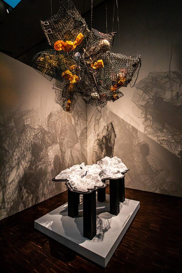 Mesh, 2015 is one of the installations by Canadian artist Mia Feuer on display in the Totems of the Anthropocene exhibit at the Figge Art Museum in Davenport, IA. The gallery is located on the fourth floor of the building and will run until December 29th, 2019.