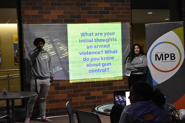 Augie sophomores Caleb Minnis (Left) and Alondra Ochoa (Right) lead the nights discussions on gun violence on September 25th, 2019.