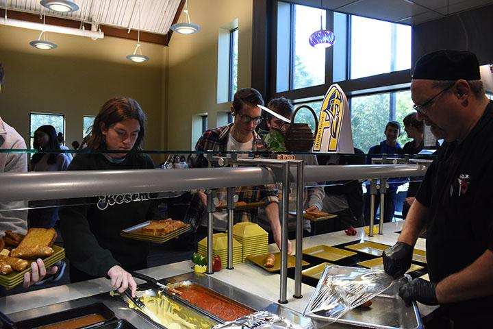 Augie students grabbing food in the Gerber Center Dining Hall on October 18, 2019.