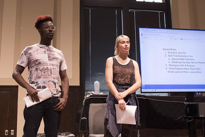 Keynote speakers for the event Mandatory Title IX trainin, Oronde Cruger and Melina Flinck taking the crowds opinion , at Wallenburg on October 9th, 2019.