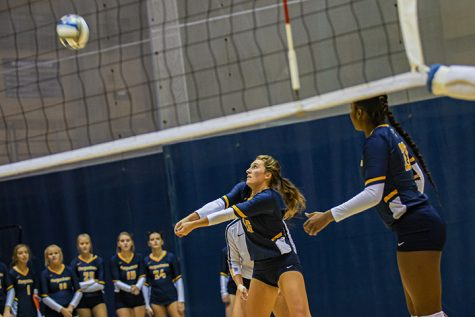 Augustana senior Madi Glatz attempts an assist during the second match of the game. The Augustana Vikings lost to Millikin by 3-0 (28-26,25-23,25-19) on October, 11, 2019.