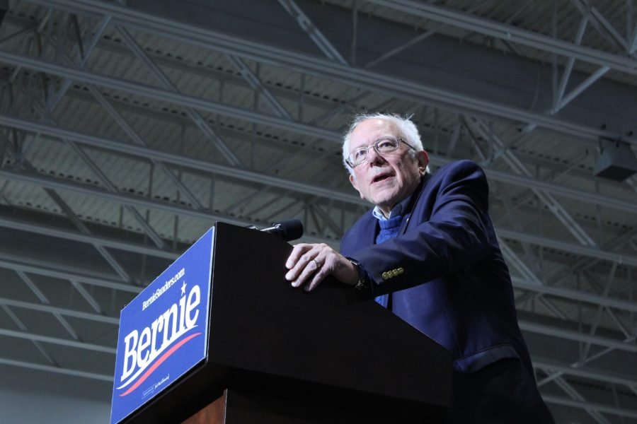 Bernie Sanders reacts to someone in the crowd as they criticize Micheal Bloomberg entering the Democratic race, on, Saturday, Nov. 9. Photo by Emily Jacobson