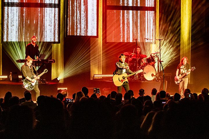 """Lead vocalist/guitarist Johnny Rzeznik (from left) and bassist Robby Takac of the Goo Goo Dolls perform with touring member and drummer Craig Macintyre (behind) for the crowd at the Adler Theater in Davenport, IA, on November 6, 2019. The Goo Goo Dolls are currently on tour in North America co-headlining with Train following their earlier release of their new album """"Miracle Pill."""""""