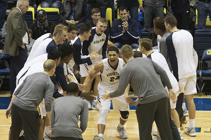 Augie Senior Pierson Wofford after getting called on the court, during the game Augustana Vikings vs  UW-Oshkosh Titans at Carver on 9th Nov, third period. Augie lost 67-74.
