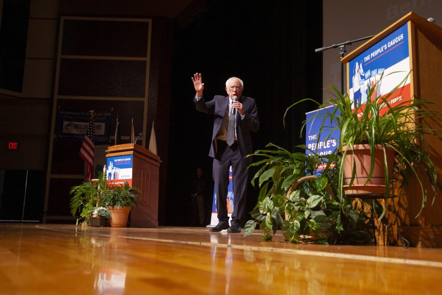 Senator+Bernie+Sanders+talks+to+the+crowd+during+the+presidential+candidate+forum+through+The+Peoples+Caucus+on+Sunday%2C+January+12+at+Davenport+North+High+School.+Photo+by+Kevin+Donovan