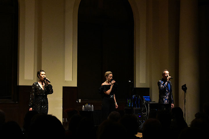 The Real Group's Emma Nilsdotter (Left), Lisa Ӧstergren (Center), and Anders Edenroth (Right) performing at Wallenberg Hall onTuesday, February 11th, 2020.