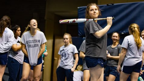 The Vikings softball team on their break at the Vikings softball practice in Carver on March 10. .