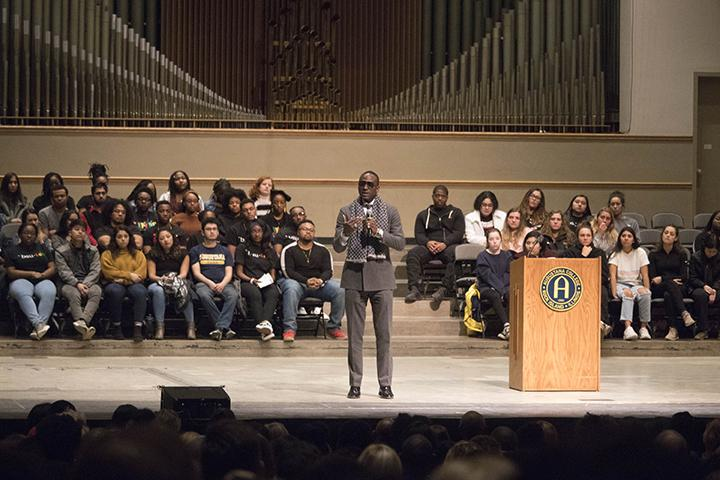 Dr, Yusef Salaam giving a speech during the event an Evening with Yusef Salaam, an event to commemorate Augustana's 1969 Black Power Symposium.
