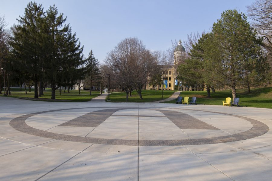 The Viking Plaza, normally filled with students, remains empty on Thursday April 2. Photo by Kevin Donovan