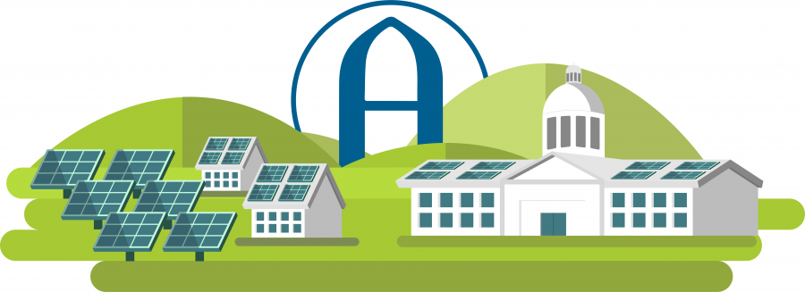 Augustana college to install solar panels on the roofs of Westerlin Hall, PepsiCo Recreation Center, Carver P.E. Center and Centennial Hall during summer 2020. Graphic by Kevin Donovan.