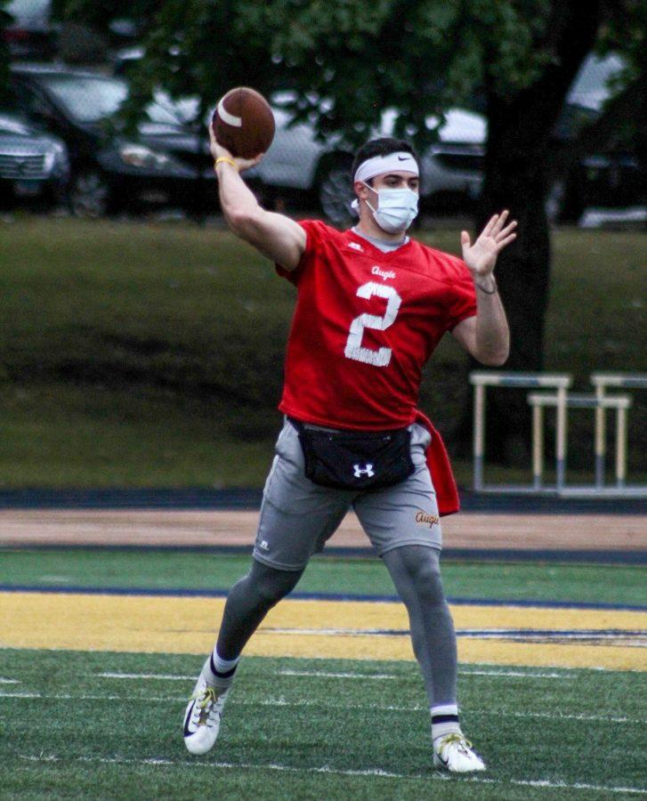 Senior Alek Jacobs and starting quarterback for the Vikings practices his throws during drills in their practice on Wednesday September 10th, 2020 at Thorson-Lucken Field.