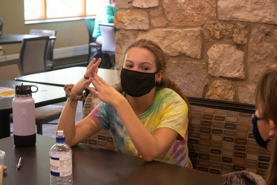 Augie Sophomore, Sinclair Lucero sharing the new hobbies she picked up during quarantine in the brew lounge on September 17th. Photo by Aakash Manandhar.