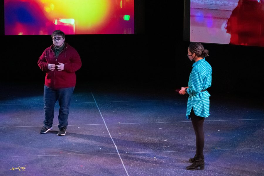 Virgil Hajdys, left, and Ravyn Davis, right, rehearse for the production of The Curious Incident of the Dog in the Night-Time. Photo by Nick Muller.