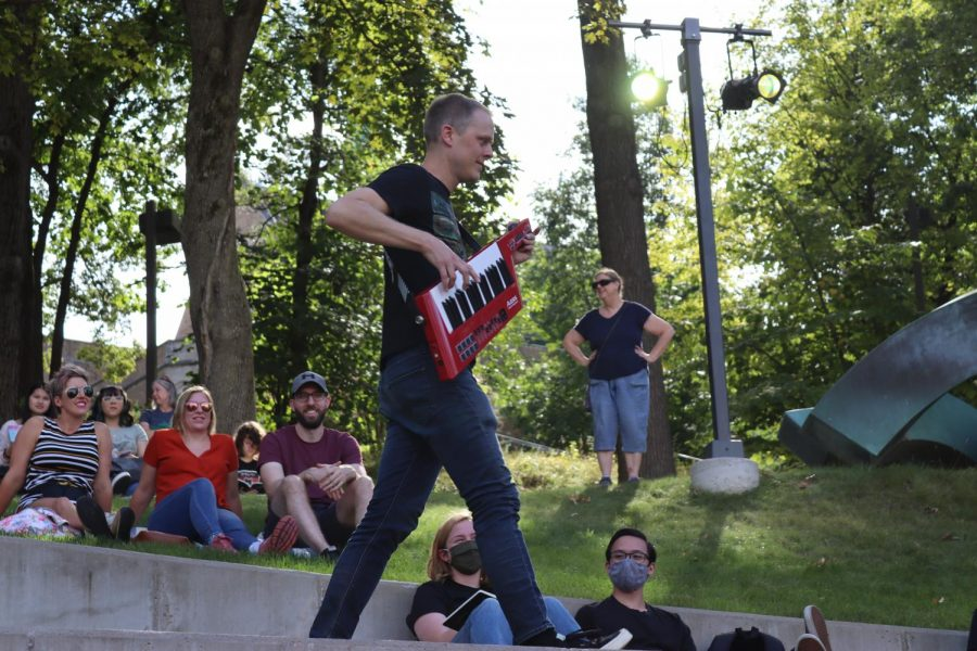 White Tornado interacts with the crowd during his exciting performance at Chill on the Hill on Sunday, Sept. 26.